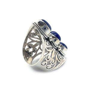 lapis lazuli big statement sterling silver ring