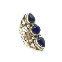 Load image into Gallery viewer, lapis lazuli big statement sterling silver ring