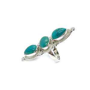 big turquoise sterling silver statement ring
