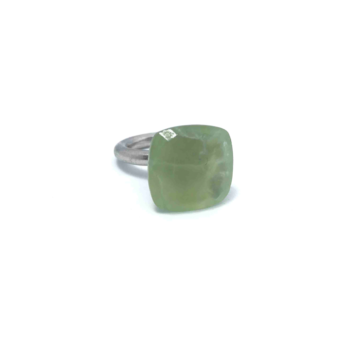 Prehnite Square Stone Gemstone Ring Sterling Silver - Stoned Hilda Discover the soul of Gemstones