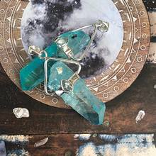Load image into Gallery viewer, aqua aura sterling silver quartz pendant