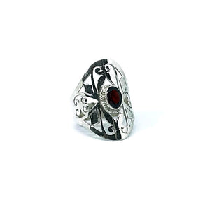 Garnet Filigree Style Ring Sterling Silver - Stoned Hilda Discover the soul of Gemstones