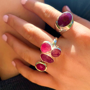 big statement ruby gemstone silver ring