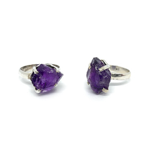 Load image into Gallery viewer, raw amethyst ring in sterling silver