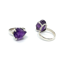 Load image into Gallery viewer, amethyst silver gemstone ring raw stone
