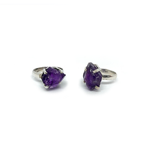 Load image into Gallery viewer, amethyst raw stone silver ring