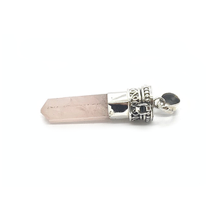 rose quartz sterling silver shard point gemstone pendant