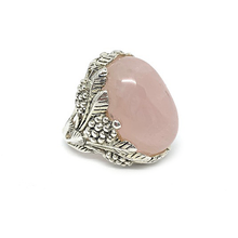 Load image into Gallery viewer, large rose quartz gemstone silver ring