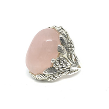 Load image into Gallery viewer, rose quartz big silver gemstone ring