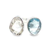 Load image into Gallery viewer, clear quartz blue topaz sterling silver gemstone ring