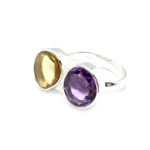 citrine amethyst sterling silver gemstone ring