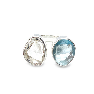 clear quartz blue topaz sterling silver gemstone ring