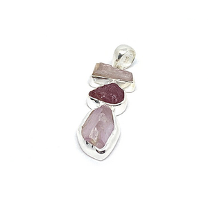 ruby with pink kunzite raw stone silver gemstone pendant
