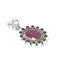 Load image into Gallery viewer, Ruby Garnet Pendant Set In Sterling Silver - Stoned Hilda Discover the soul of Gemstones