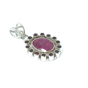 Ruby Garnet Pendant Set In Sterling Silver - Quirky Pieces