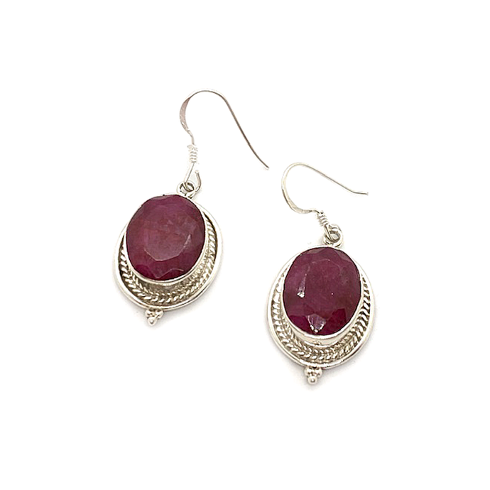 ruby gemstone sterling silver boho style drop earrings