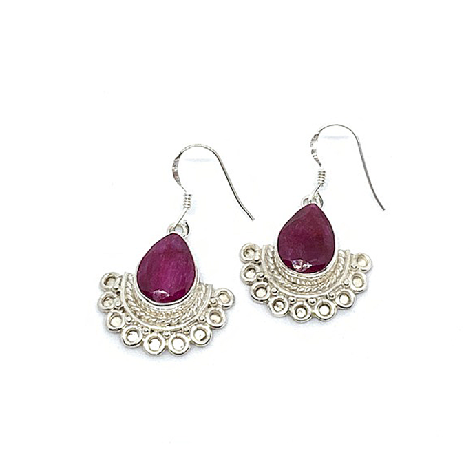 Ruby Boho Style Silver Earrings