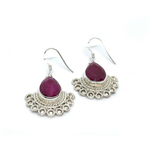 Load image into Gallery viewer, Ruby Boho Style Silver Earrings