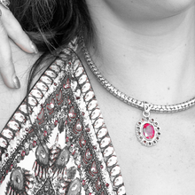 Load image into Gallery viewer, ruby garnet silver bohemian pendant