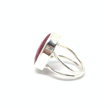 Load image into Gallery viewer, oval ruby silver gemstone ring
