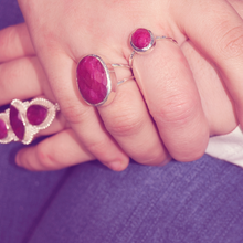 Load image into Gallery viewer, round ruby sterling silver gemstone boho ring