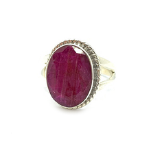 Load image into Gallery viewer, sterling silver ruby gemstone ring