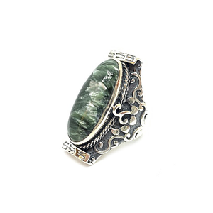 Seraphinite Saddle Silver Boho Ring