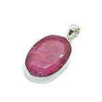 big ruby gemstone sterling silver pendant