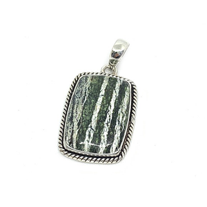 seraphinite gemstone silver rectangle boho style pendant