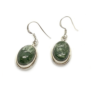 seraphinite oval shaped sterling silver drop earrings