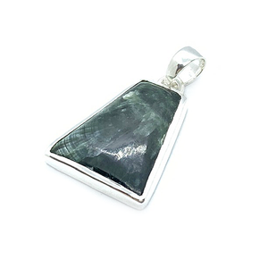 seraphinite gemstone silver boho style sterling silver pendant