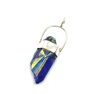 blue aqua aura quartz shard sterling silver pendant