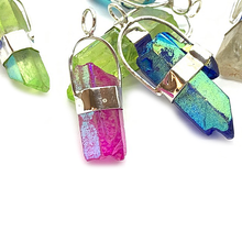 Load image into Gallery viewer, blue aqua aura quartz shard sterling silver pendant