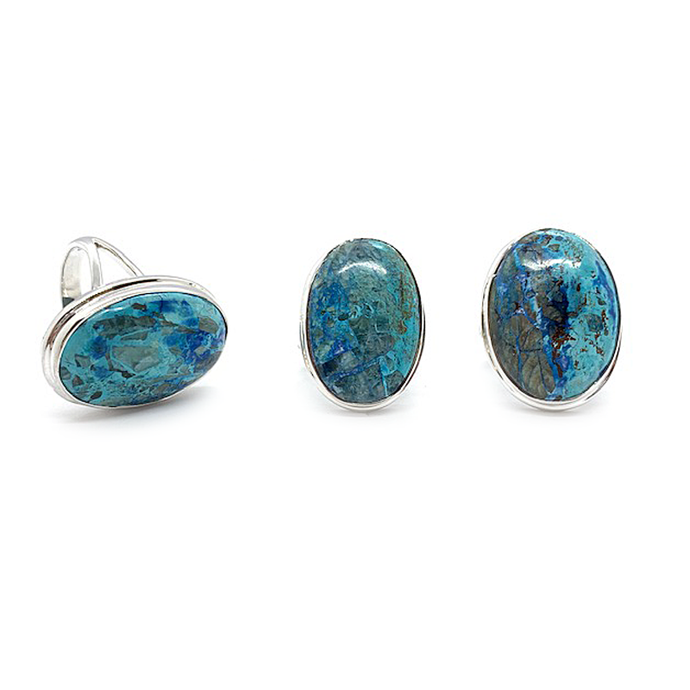 shattuckite oval gemstone sterling silver ring