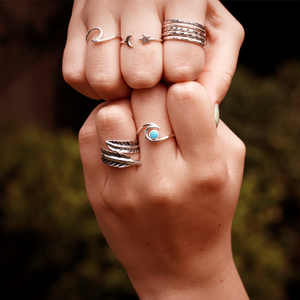 wave ring gypsy style silver