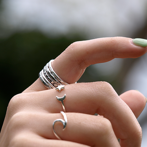 moon and star silver ring