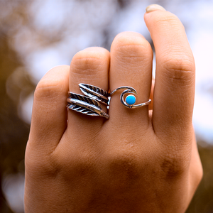 silver feather boho ring