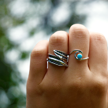Load image into Gallery viewer, gypsy boho feather ring sterling silver