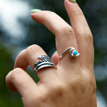 Load image into Gallery viewer, feather boho ring sterling silver