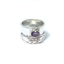 Load image into Gallery viewer, amethyst silver spin anxiety wish ring
