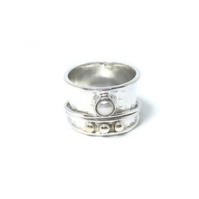 Load image into Gallery viewer, pearl silver spin anxiety wish ring