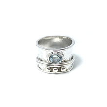 Load image into Gallery viewer, blue topaz silver spin anxiety wish ring