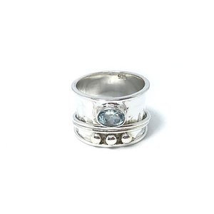 blue topaz silver spin anxiety wish ring