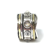 Load image into Gallery viewer, moonstone silver spinning anxiety ring