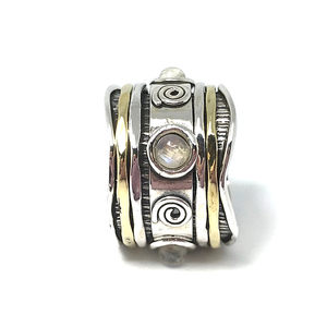 moonstone silver spinning anxiety ring