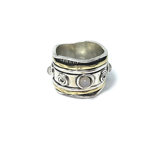 Load image into Gallery viewer, spinner ring moonstone sterling silver