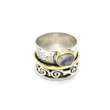 Load image into Gallery viewer, amethyst moonstone blue topaz sterling silver wish ring anxiety ring spinning ring