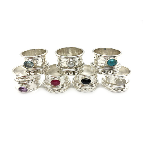 wish anxiety spinning sterling silver ring topaz pearl turquoise amethyst ruby onyx moonstone