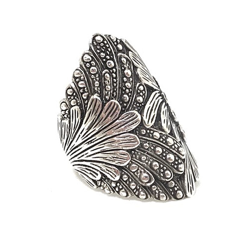 sterling silver large statement boho leaf ring