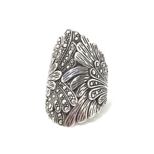 Load image into Gallery viewer, silver leaf ring genuine sterling silver gypsy style